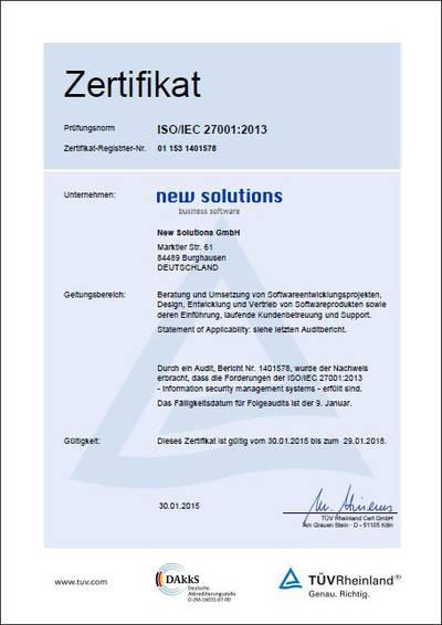 ISO 27001 Zertifizierung Informationssicherheit Software